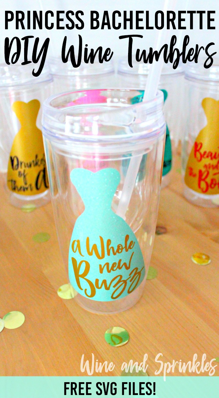 DIY Princess Bachelorette Wine Tumblers #princess #bachelorette #wine