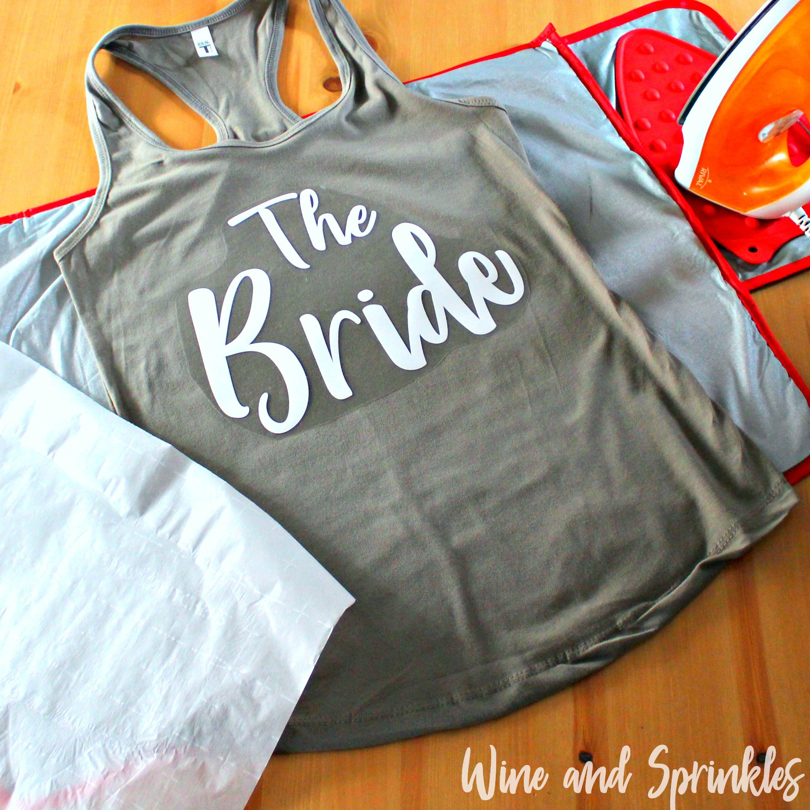 DIY Bride Squad Iron On Bachelorette Tank Tops #bridesquad #svgfiles #htvvinyl