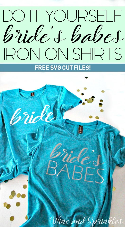 DIY Bride's Babes Iron On Bridal Party Tank Tops #bridesbabes #svgfiles #diywedding