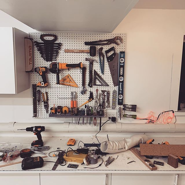 A clean mess is what's left after 6 months of workshop building. Dust collection (in an outside shed) is operating, which means we can cut on the table saw and begin projects. #diy #woodworking #workspace