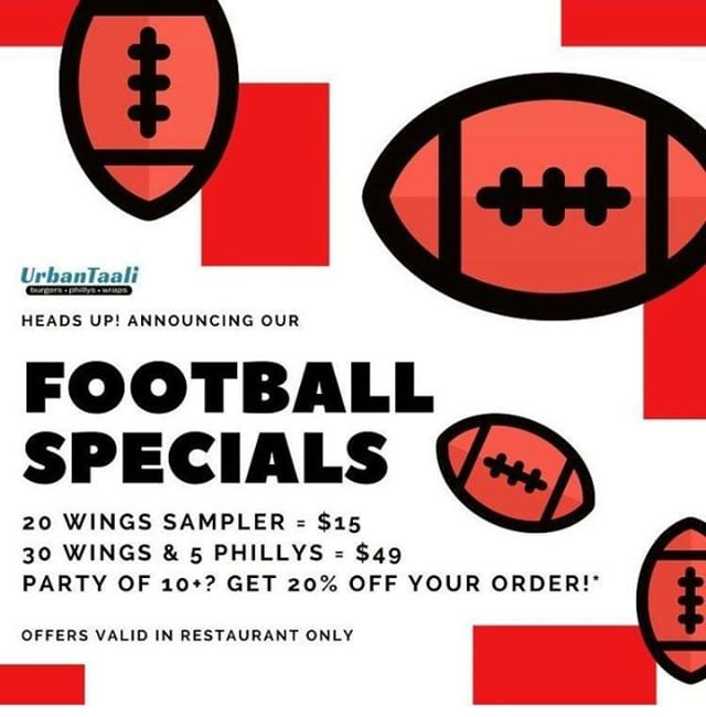 Come watch the game with us! We are offering SUPER BOWL FOOTBALL SPECIALS: 20 wings sampler (choose up to 3 different flavors!) for $15, 30 wings and 5 phillys for $49, or 20% off your order for groups of 10+⠀⠀⠀⠀ -⠀🏉🏆🍽⠀⠀⠀⠀ #SuperBowl #Football #GameTime #GameOn #UrbanTaali #FeastYourEyes #Wrap #Halal #StreetFood #AtlantaStreetFood #Phillys #Burgers #Fries #Yum #NomNom #FoodPorn #Foodie #Atlanta #Restaurant #Hotlanta #ATL #Wings #FoodTruck #Delicious #LoveFood #Yummy #Food #RiceBowl #Taalis #RamsVsPatriots