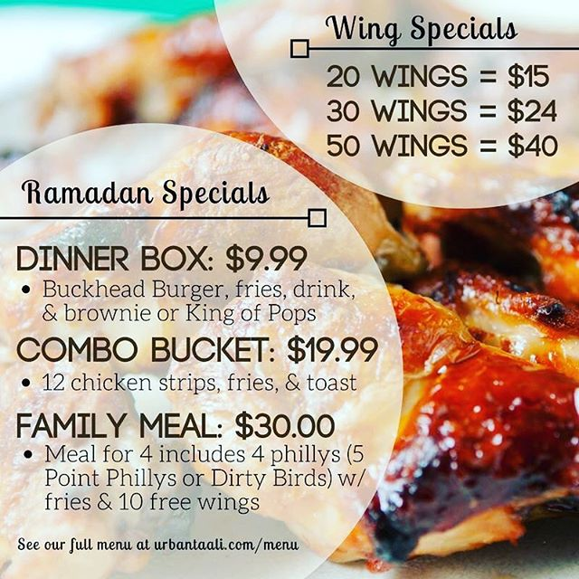 Announcing our #halal Ramadan specials! Score these deals now all Ramadan, valid all day everyday! So come break your fast with us if you celebrate or just drop by for a late-night bite. 😋🍔🍟🤗⠀ -⠀ #Ramadan #RamadanMubarak #Celebrate #Celebration #Fast #Fasting #Special #Deal #LateNightShenanigans #LateNightEats #UrbanTaali #FeastYourEyes #Wrap #StreetFood #Summer #Phillys #Burgers #Fries #Yum #NomNom #FoodPorn #Foodie #Atlanta #Delicious #Health #Yummy #Food #RiceBowl #Taalis