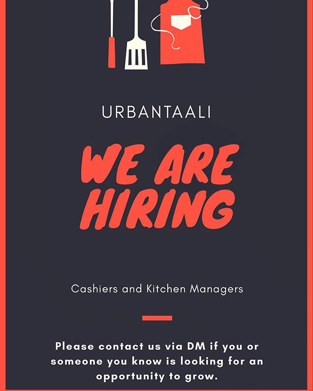 In order to expand our offerings & quality of service, we are growing our team! UrbanTaali 🍔🍽 is looking for high energy, highly motivated, & an organized person to fill a cashier and kitchen manager. • • Please contact us via DM, email or phone 404-509-7724 if you or someone you know is looking for an opportunity to grow.