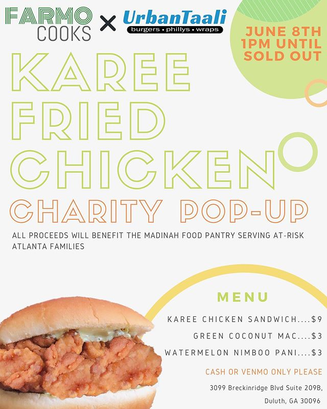 We are excited to tell y'all we've partnered with the one and only Chef @farmo from Master Chef to host a Karee Fried Chicken Pop-Up!  This is not just any ordinary pop-up —in the spirit of Ramadan we have decided to donate ALL of the proceeds generated to the Madinah Food Pantry. An organization which provides assistance to at-risk families in and around the Metro Atlanta area.  So join us next Saturday, June 8th starting at 1pm for an afternoon of Chicken, Mac, Nimboo Pani & Giving! We will be open until we run out of chicken —so come early and make sure you don't miss out! . Are y'all more excited about the Karee Fried Chicken 🍗, Green Coco Mac🥥 or the Watermelon Nimboo Pani 🍋? Tag a friend and let them know!