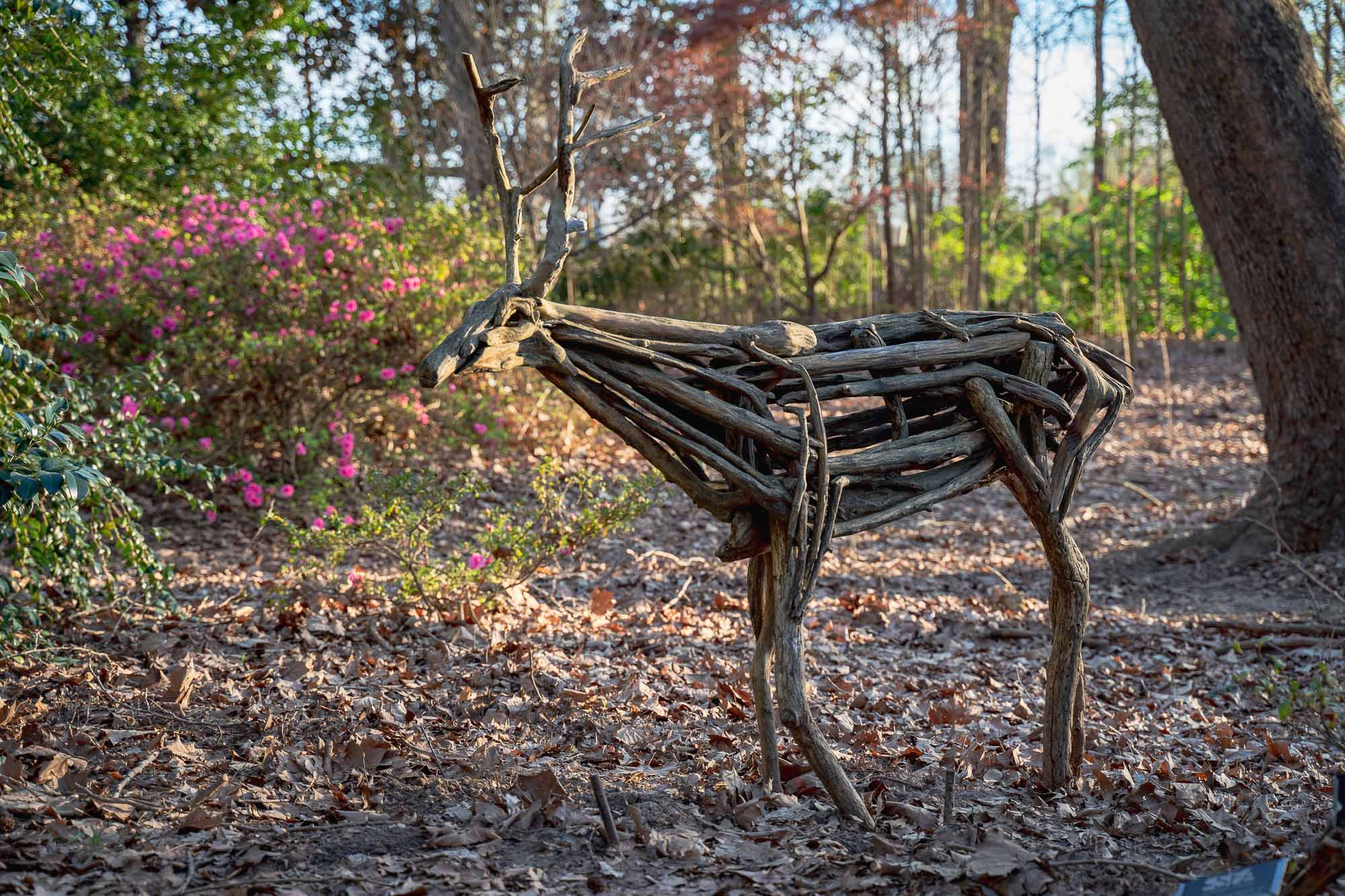 """Found objects"" wooden deer sculpture"