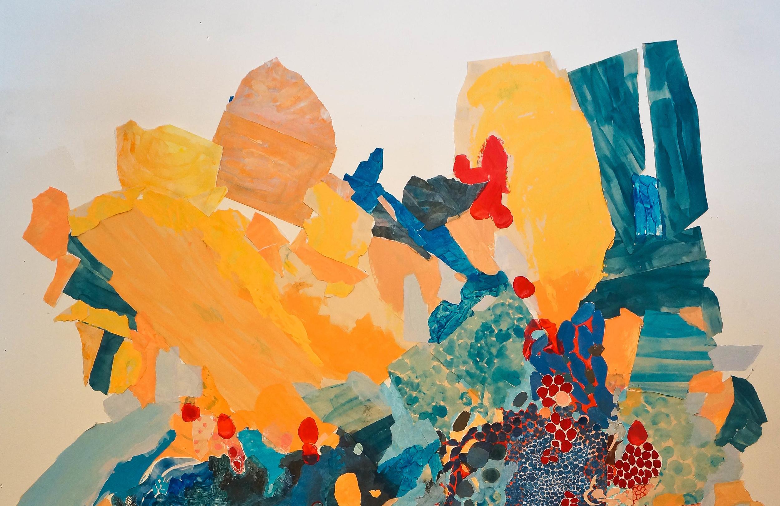 Acrylic paint, cut paper,cut canvas,newsprint,painter's tape, masking tape 2014