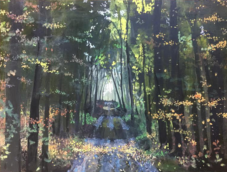 Path through the woods, gouache on panel, 5x7 inches (NFS)