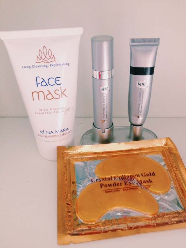 Gold Collagen eye mask, Rí Na Mara face masks and Roc eye cream.