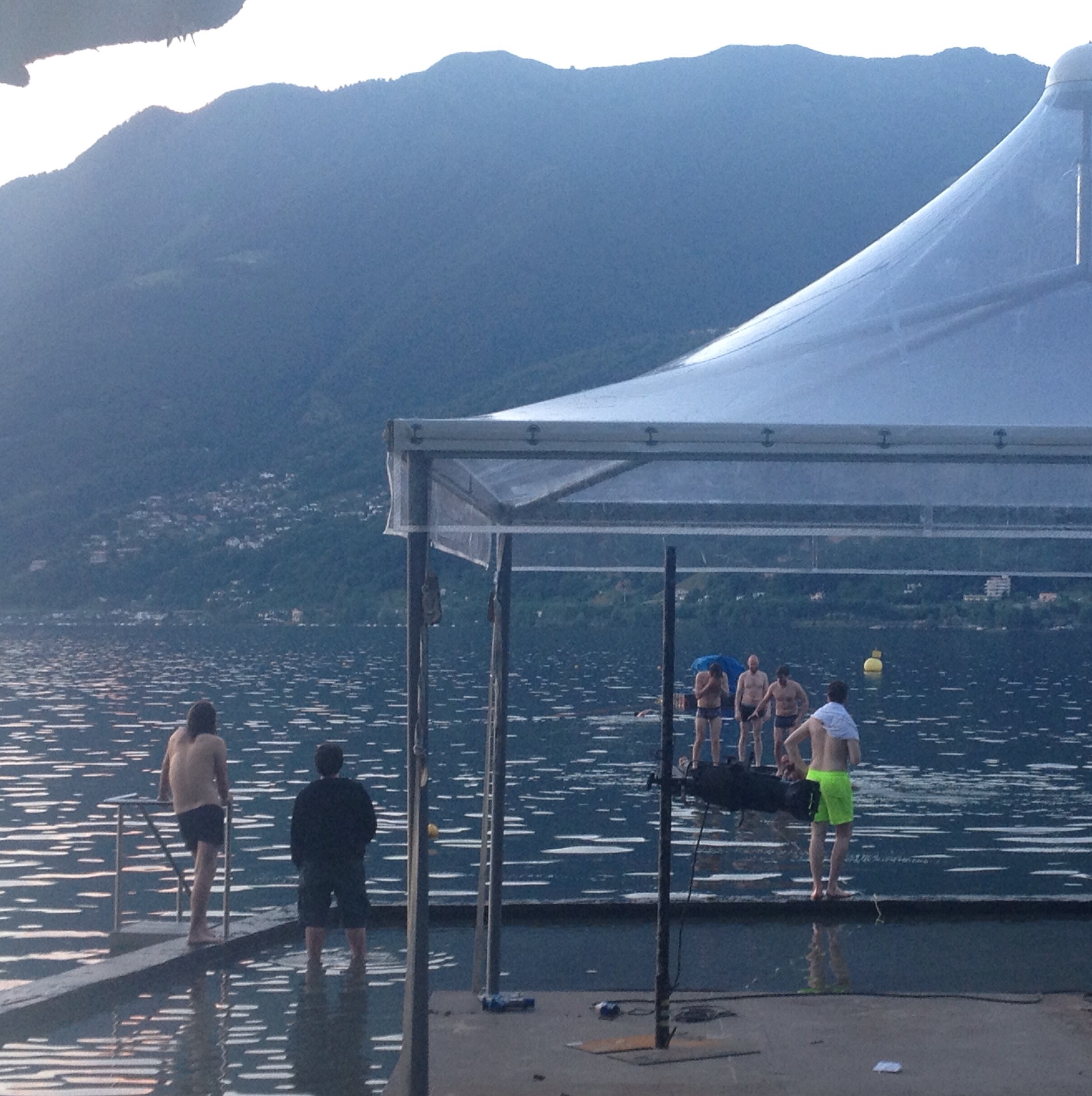 Swimming by the bandstand at Lake Maggiore, Ascona
