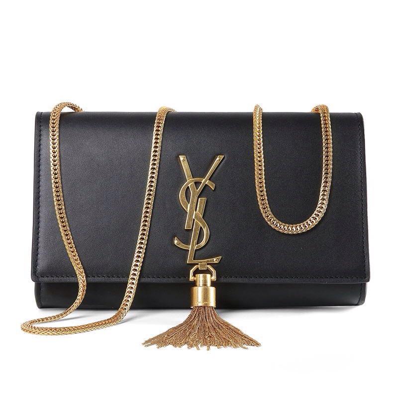 YSL Monogram Shoulder Bag with Gold Tassle