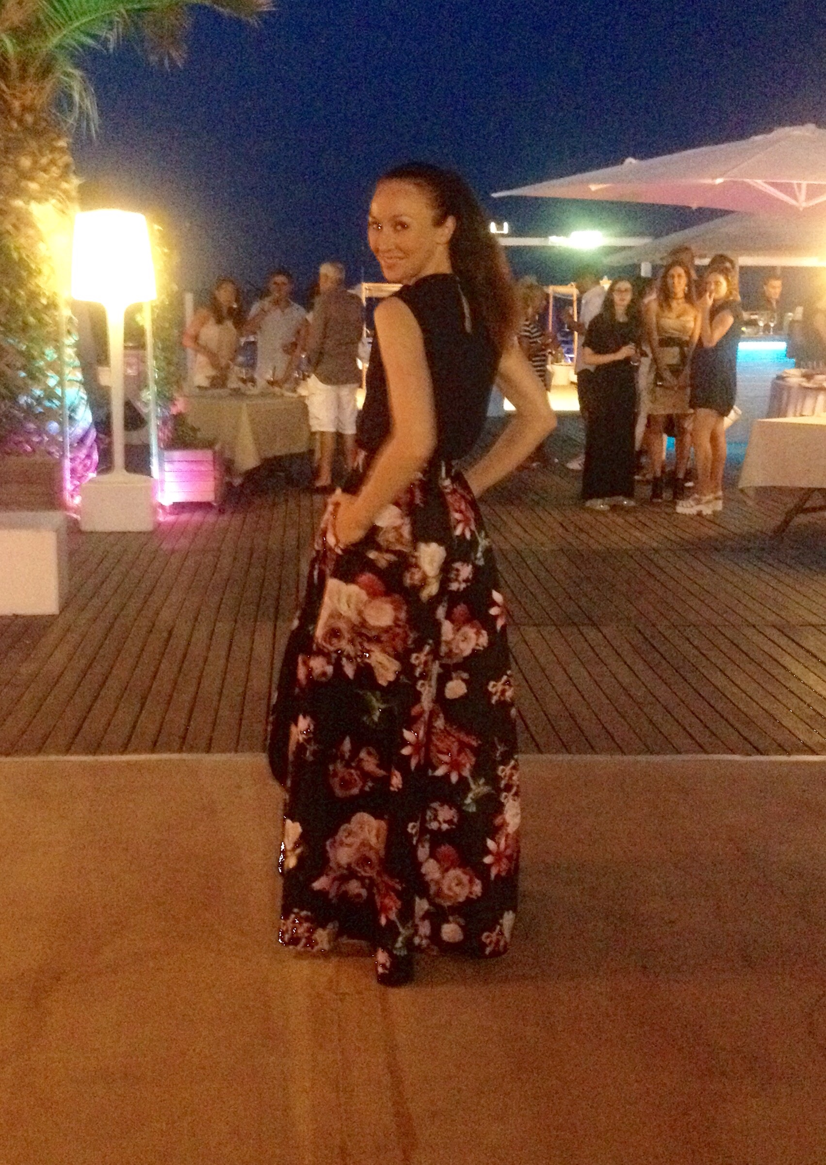 My outfit from the Pinko show, a beautiful floor length floral print skirt and silk blouse with ruffle detail.