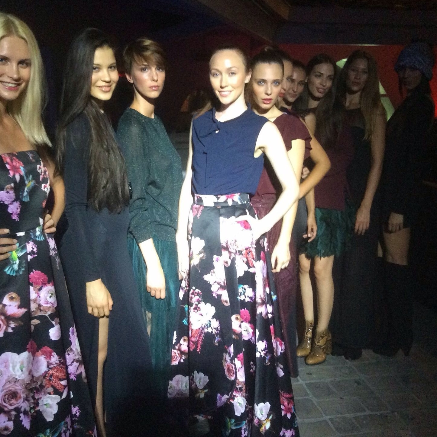 Backstage line up at the Pinko show.