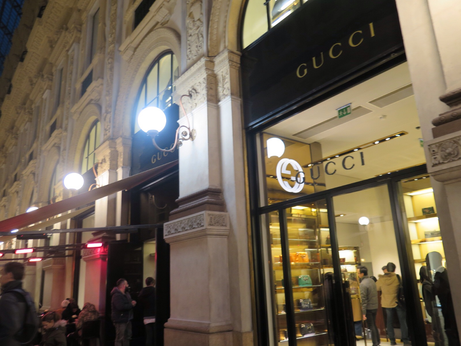 The cafe at the Gucci store in Galleria Vittorio Emanuele II, Milan
