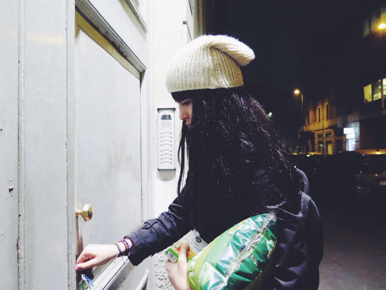 Paloma Dionizio outside her apartment