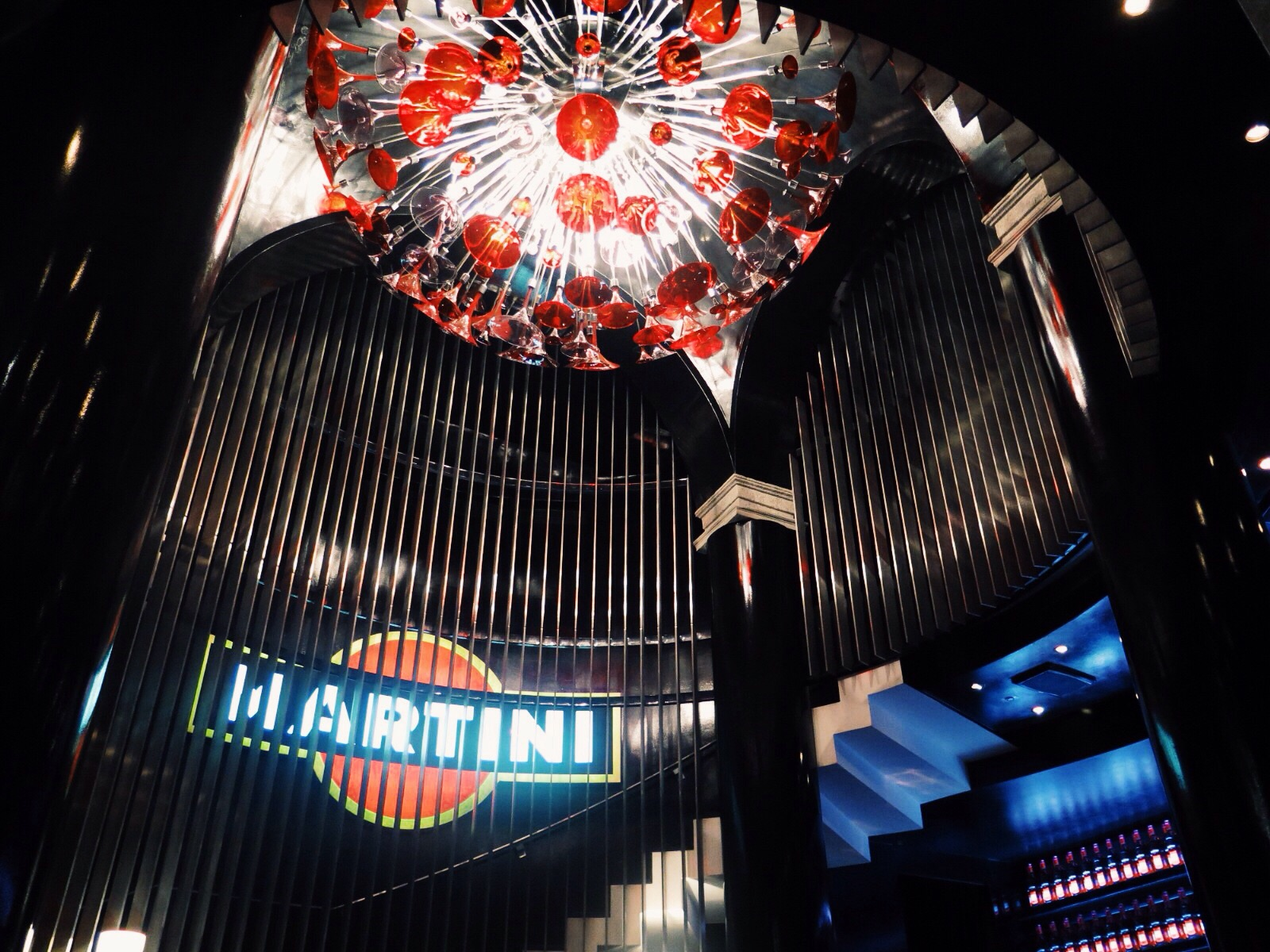 The winding staircase at the Dolce&Gabbana designed Martini Bar