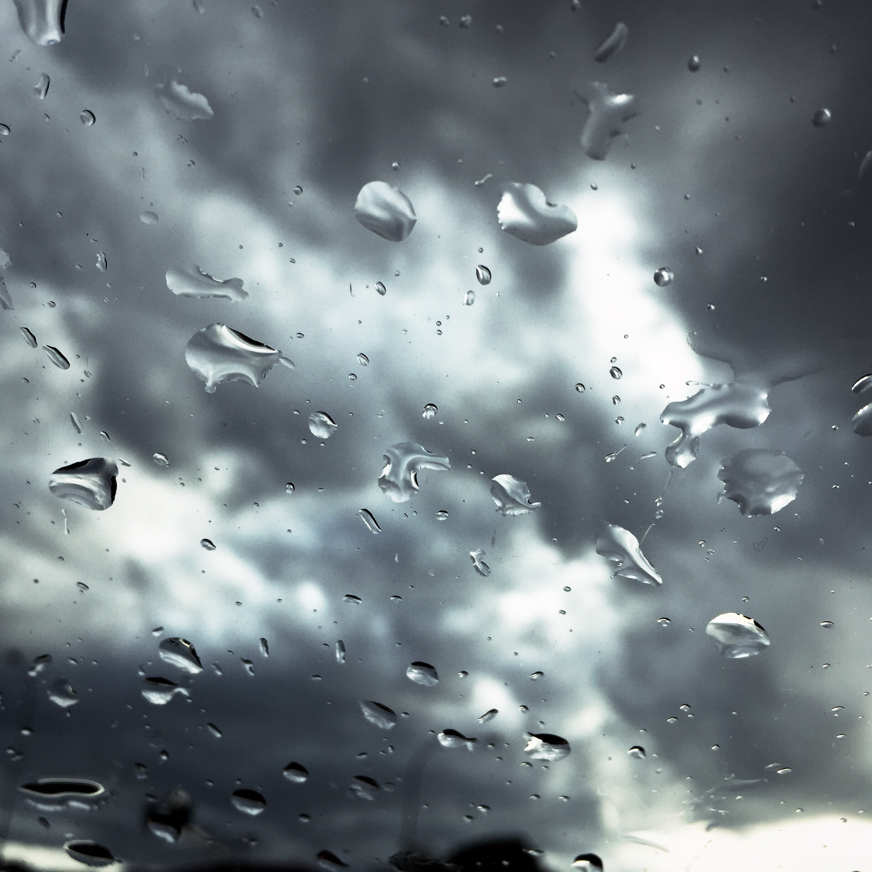 Sun shower hitting window.