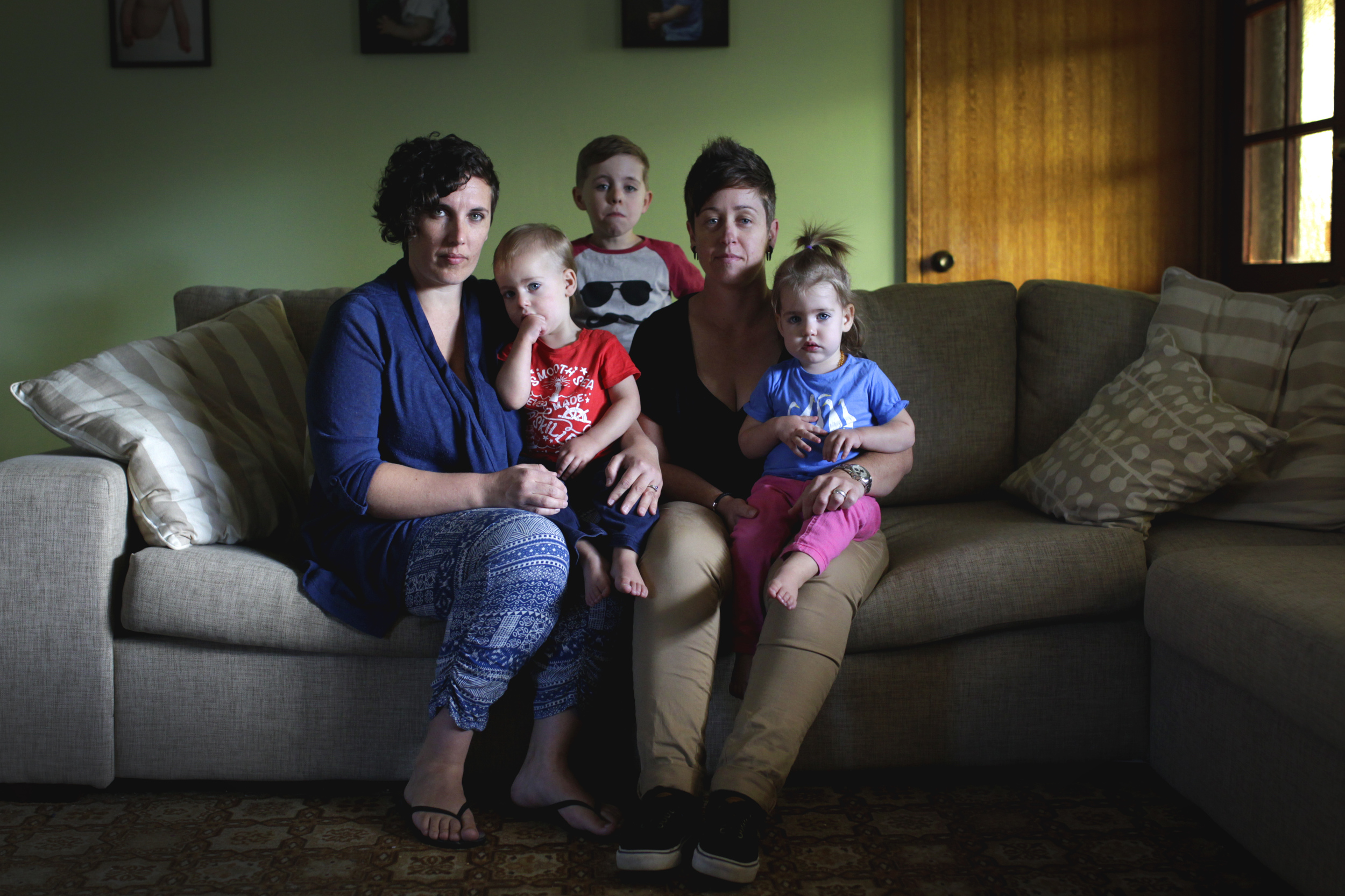 Mel and Liz, pictured with their twins Zali and Kale, 19 months, and son Bodhi, 5, are calling for Macarthur MP Russell Matheson to reverse his opposition to gay marriage.