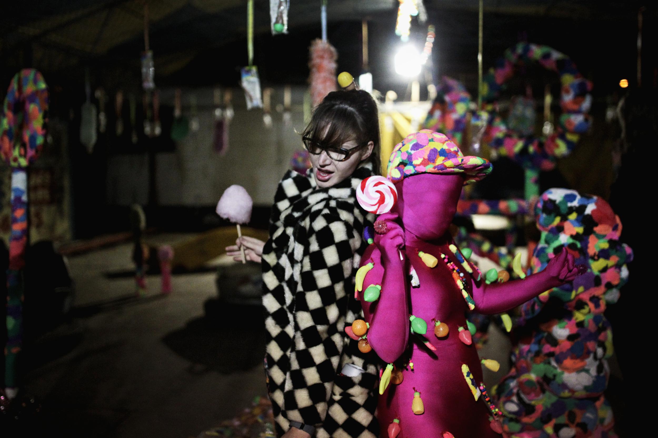 Dancing in Rosie Deacon's art installation 'Candy Shop'