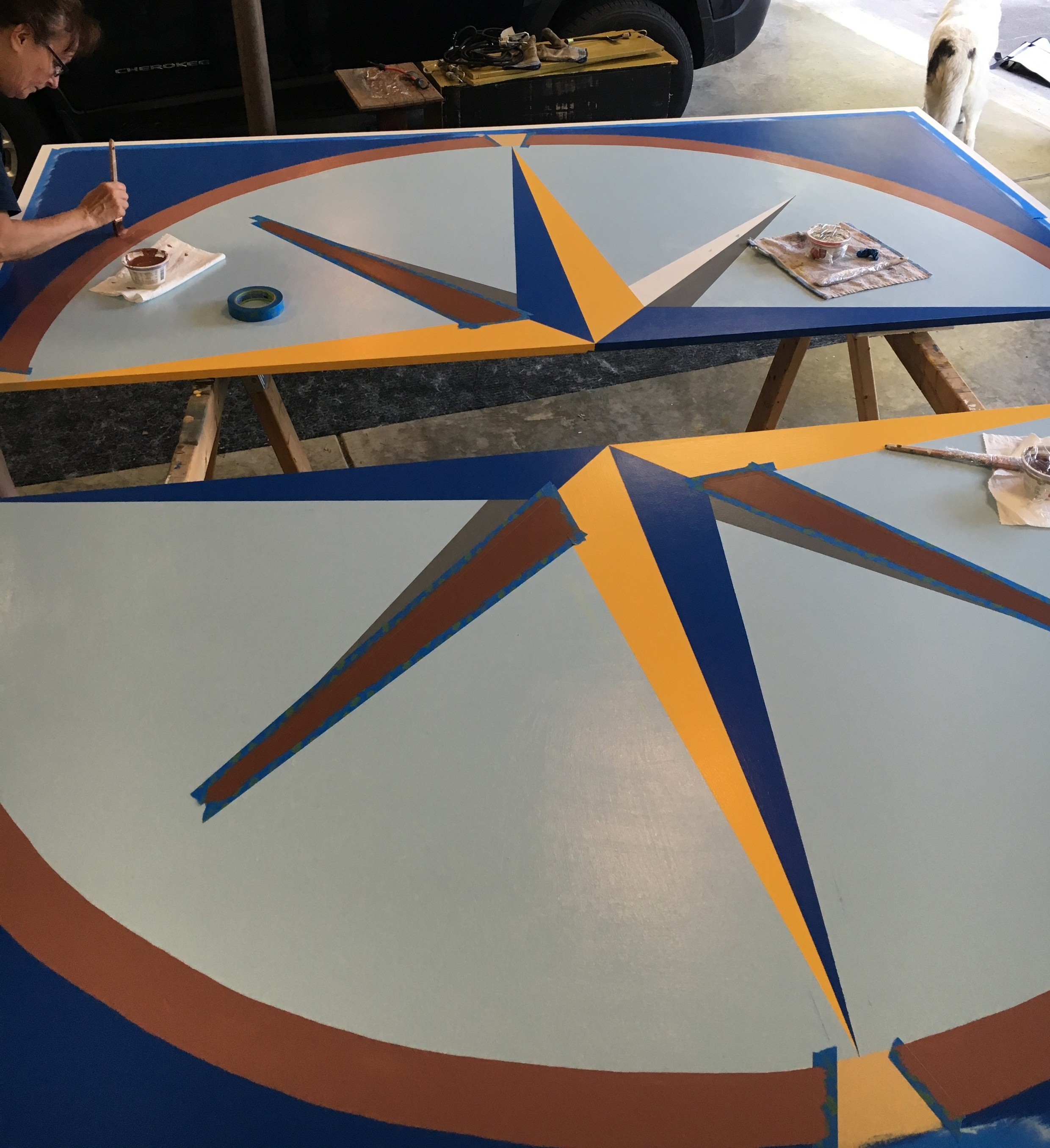 Final touches on the 8 footer Mariner's Compass