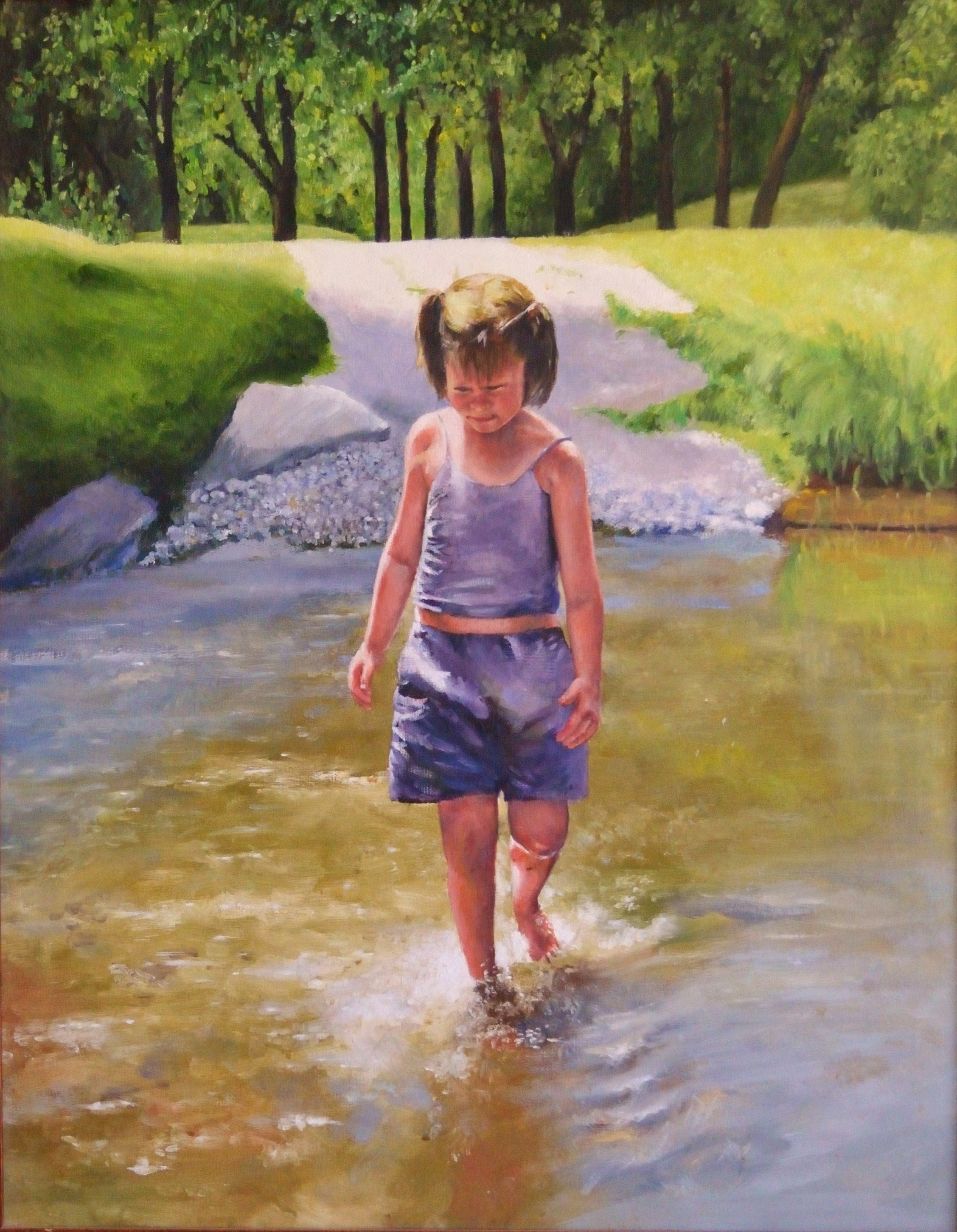 "Wading in     Soldier       Creek 1    Oil on c  anvas   22""x28"""