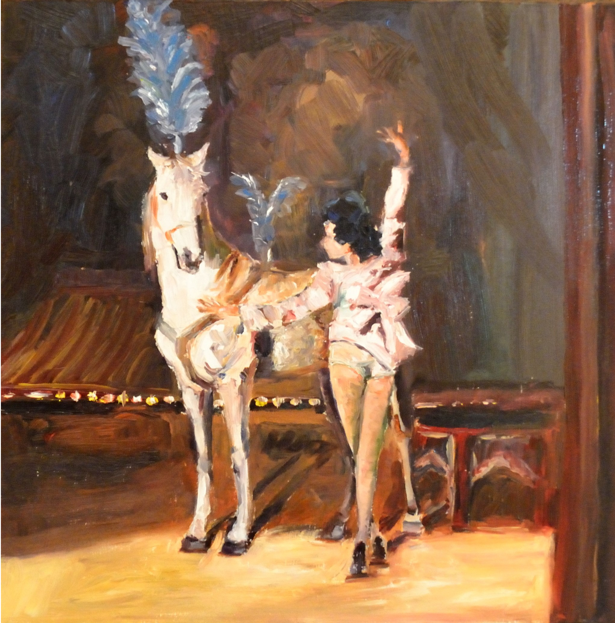 "The Trainer    Oil on b  oard   12""   x12""   ""The Trainer"" and her horse are showcased in a golden spotlight while the background is shrouded in mystery. The circus has always been a dichotomy, beauty and horror, pageantry and despair. This painting is representative of the dual nature of the Greatest Show on Earth."