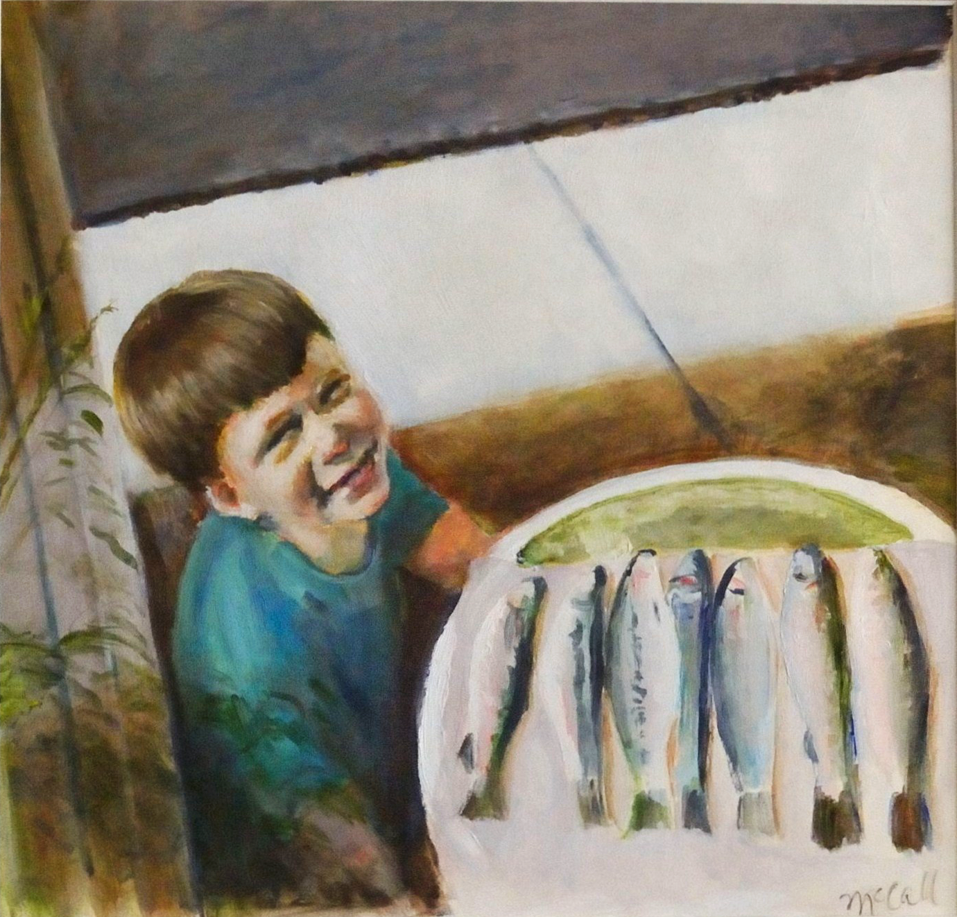 "Doug with     Trout    Oil on p  aper  12"" x11    1/2""  15""x14 1/2"" (framed)"