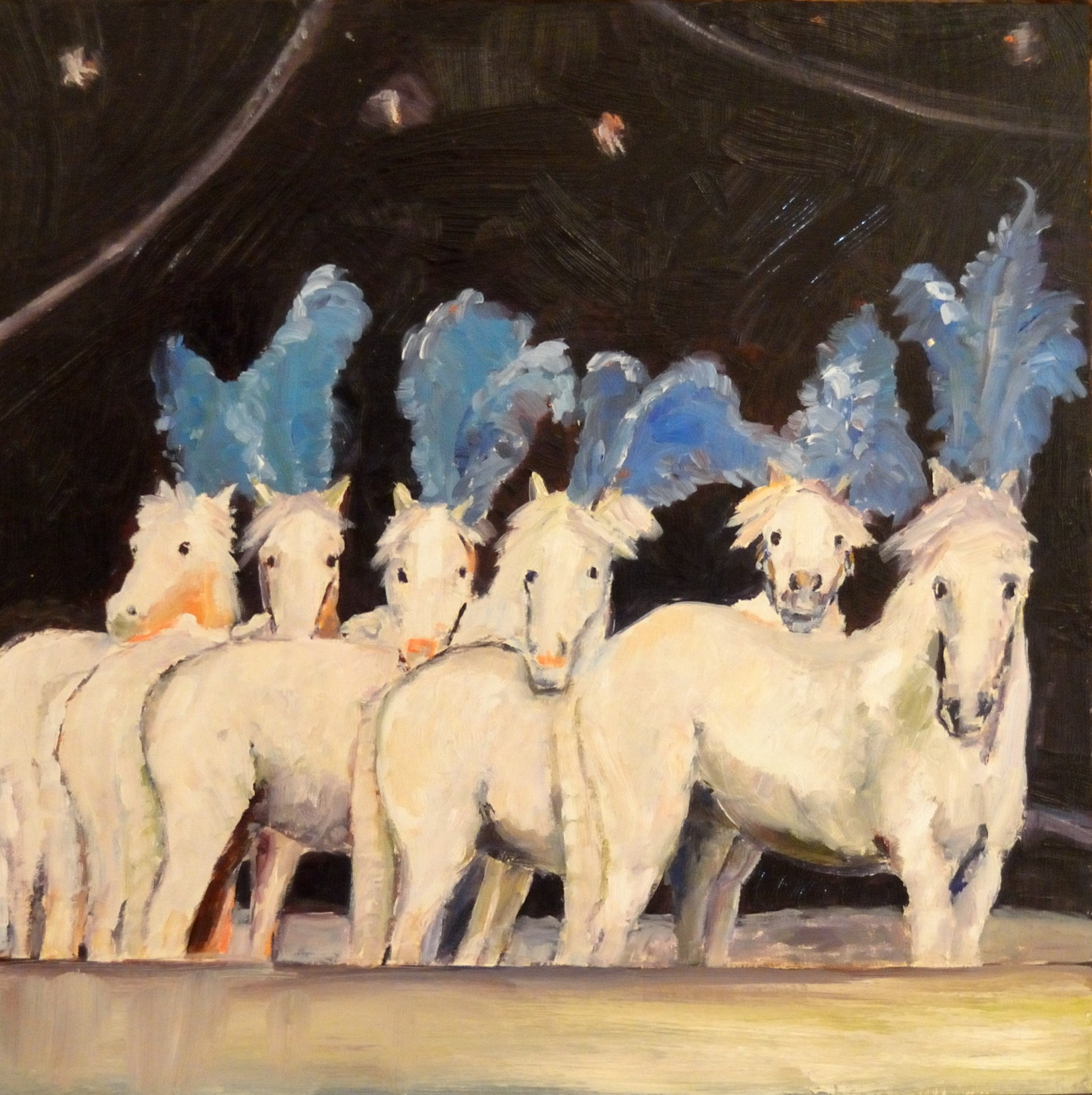 "Circus     Horses    Oil on b  oard   12""   x12""  The painting ""Six Circus Horses"" again represents this duality under the big top tent. The beautiful animals milling about in the center ring seemingly adrift from their trainer."