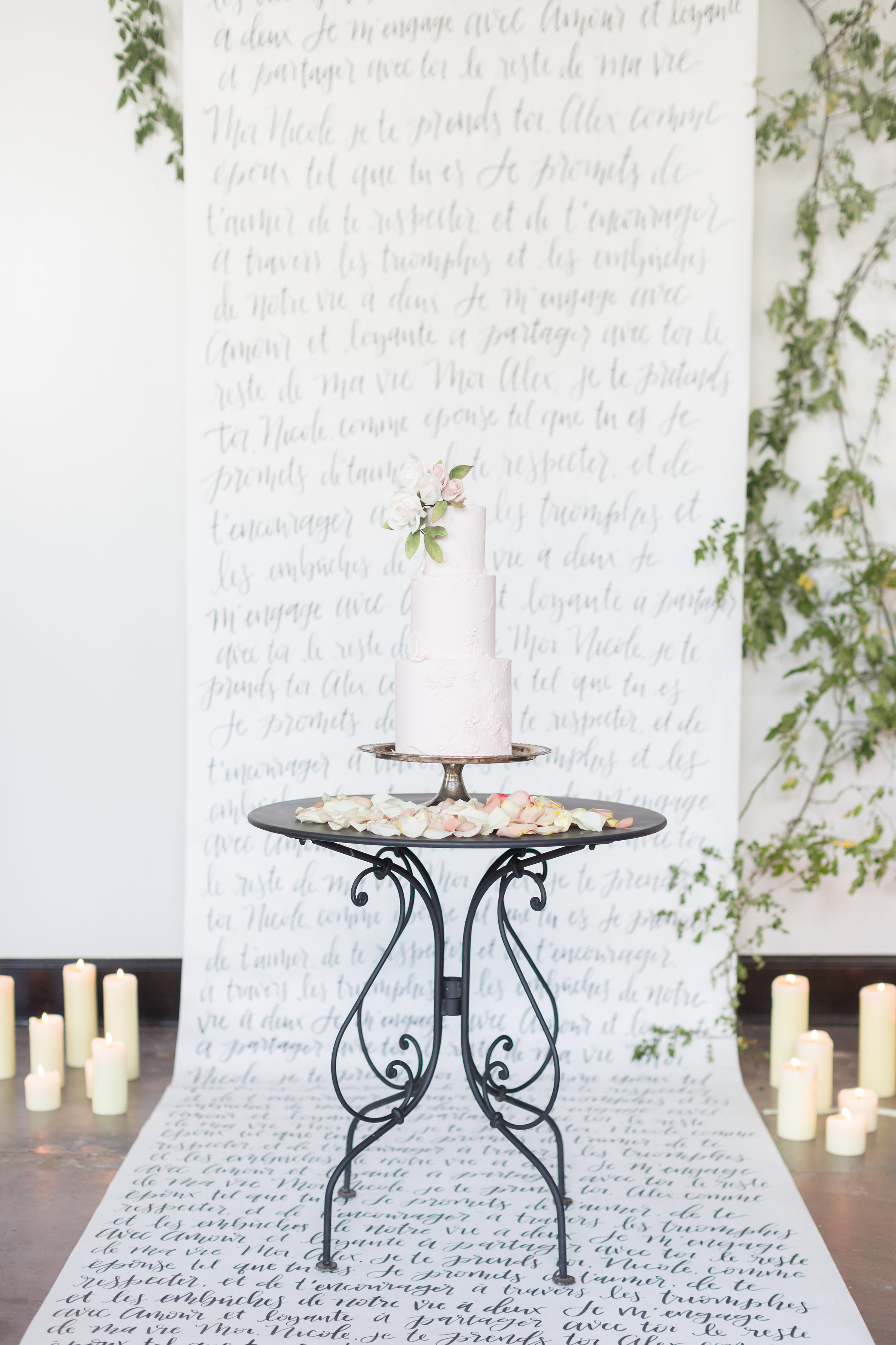 Wedding Calligraphy Backdrop | French Couture Styled Shoot