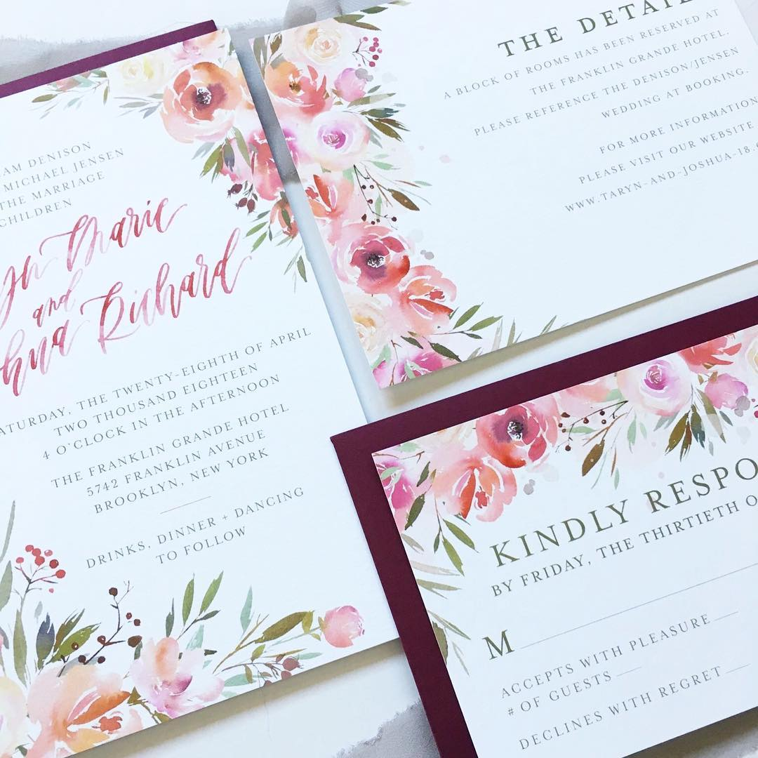 wedding stationery, watercolor florals, wedding invitation, brush lettering