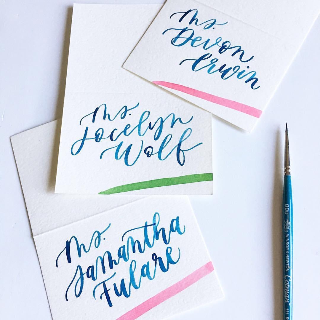 watercolor place cards | Letter Lane Design Studio