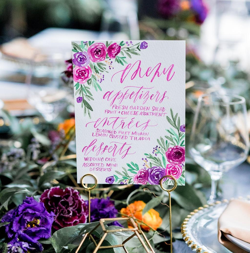 watercolor wedding menu | Letter Lane Design Studio