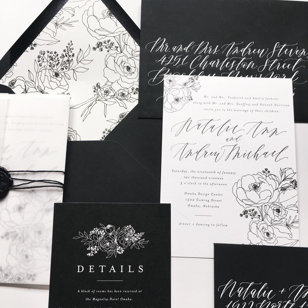 wedding invitations, custom wedding invitations, wedding stationery, envelope calligraphy, wedding inspiration
