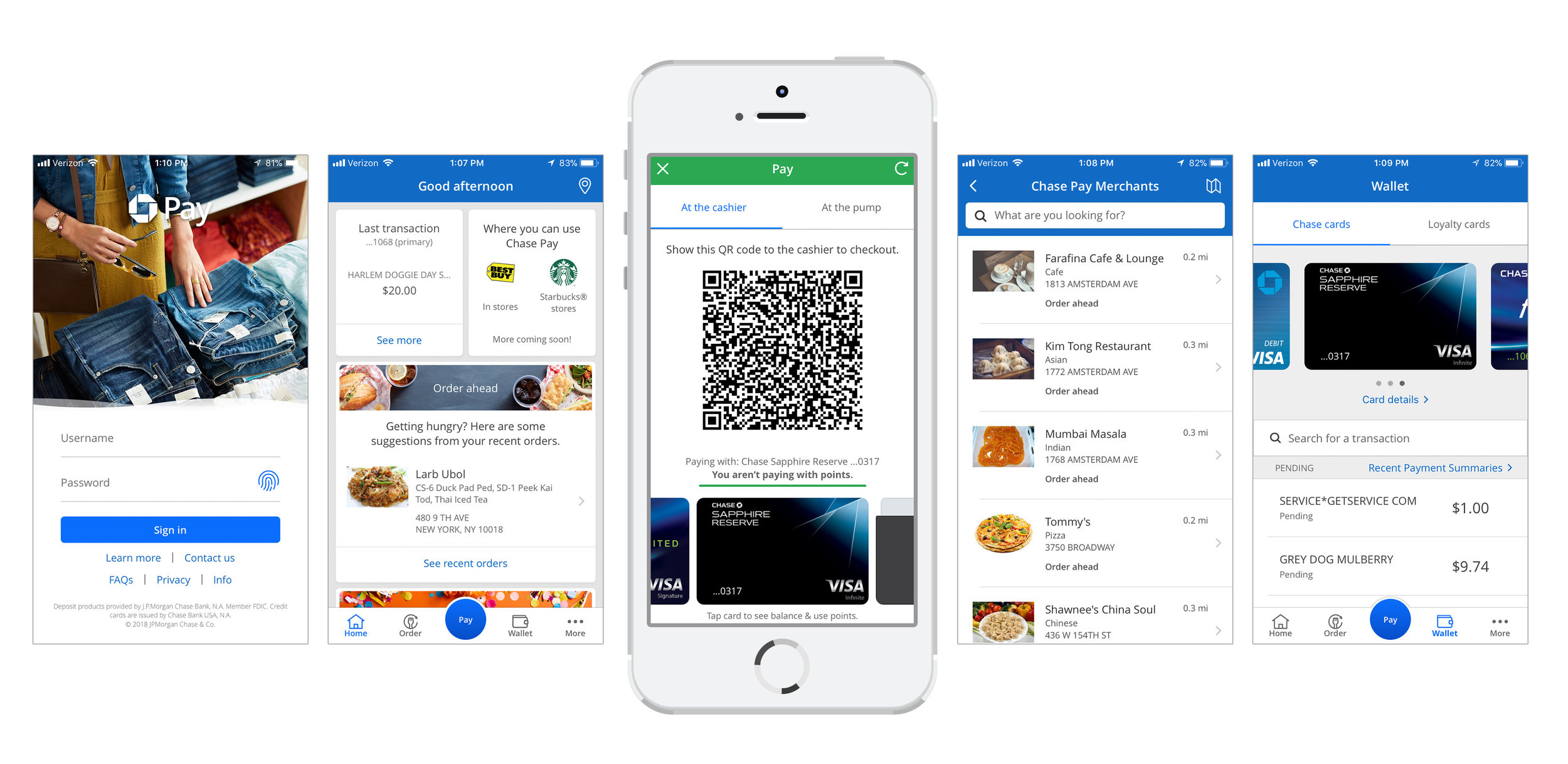 ↑ Selection of 1.0 screens from the app, before the redesign. From left to right, 1) Sign-in, 2) Homescreen, 3) Pay with QR code, 4) Merchants nearby, 5) Wallet with transactions