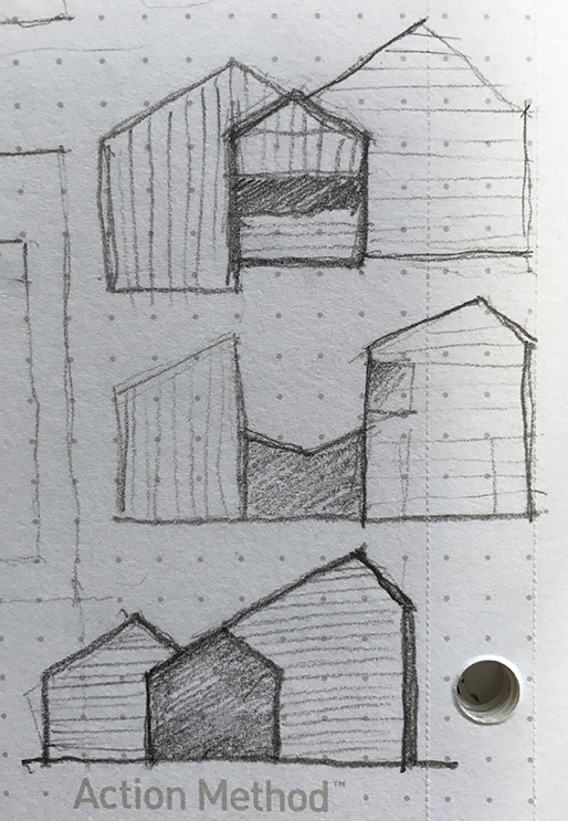 Preliminary sketches exploring the form of the building