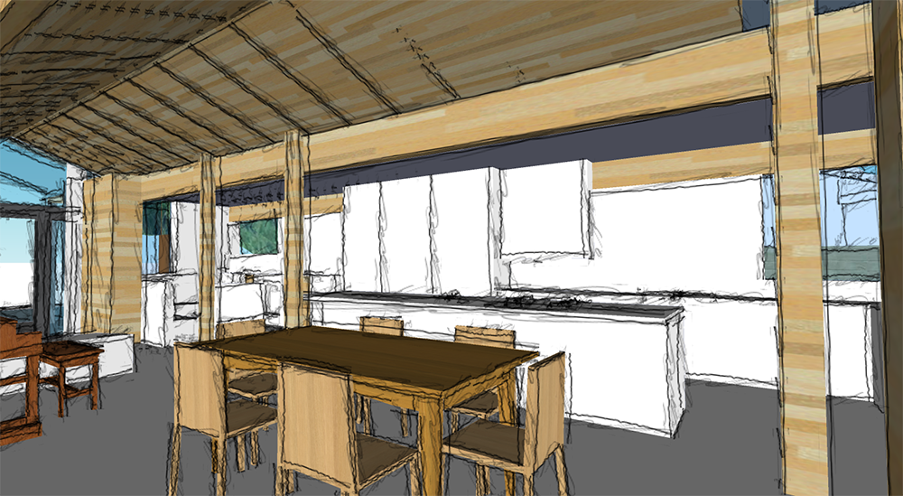 Preliminary sketch of kitchen and dining area, looking into the living room
