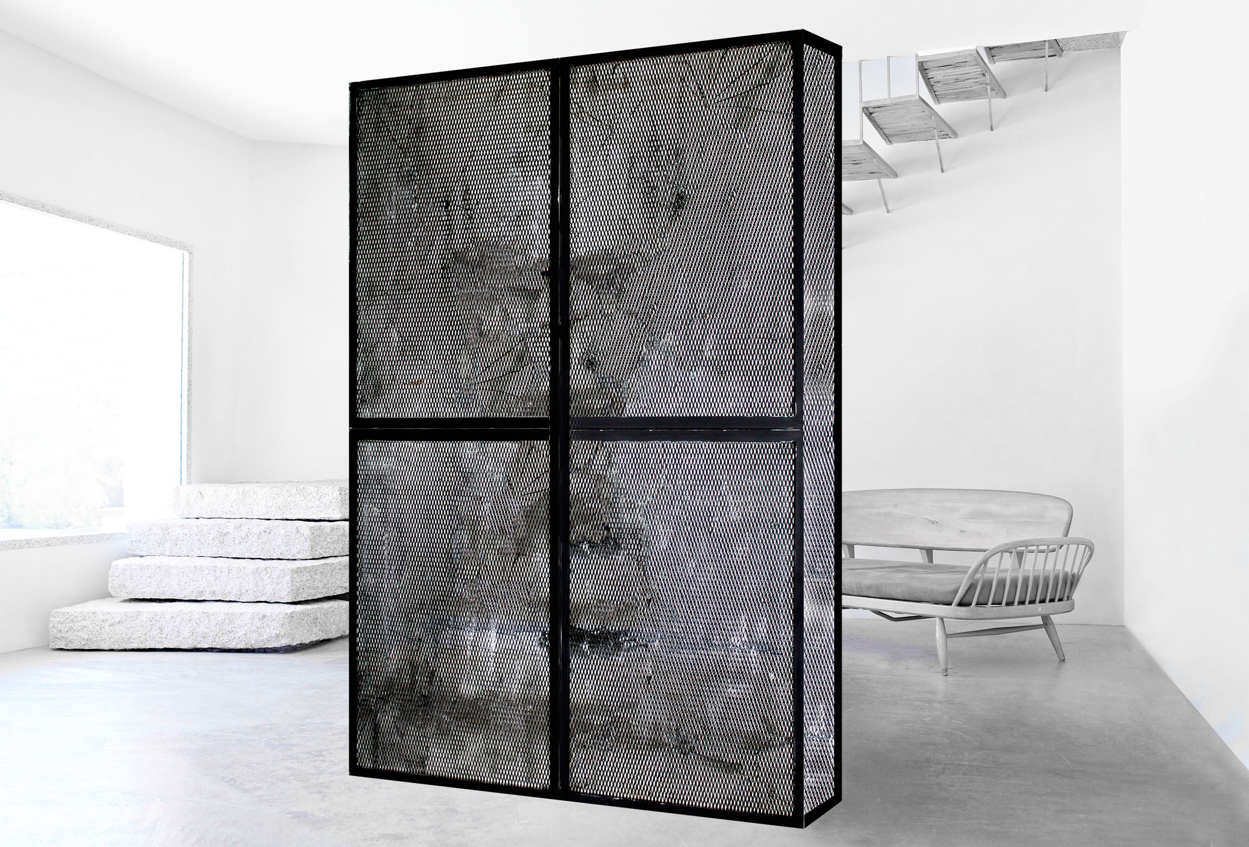 Monolith - Steel and Steel mesh -sizes variable, 2015