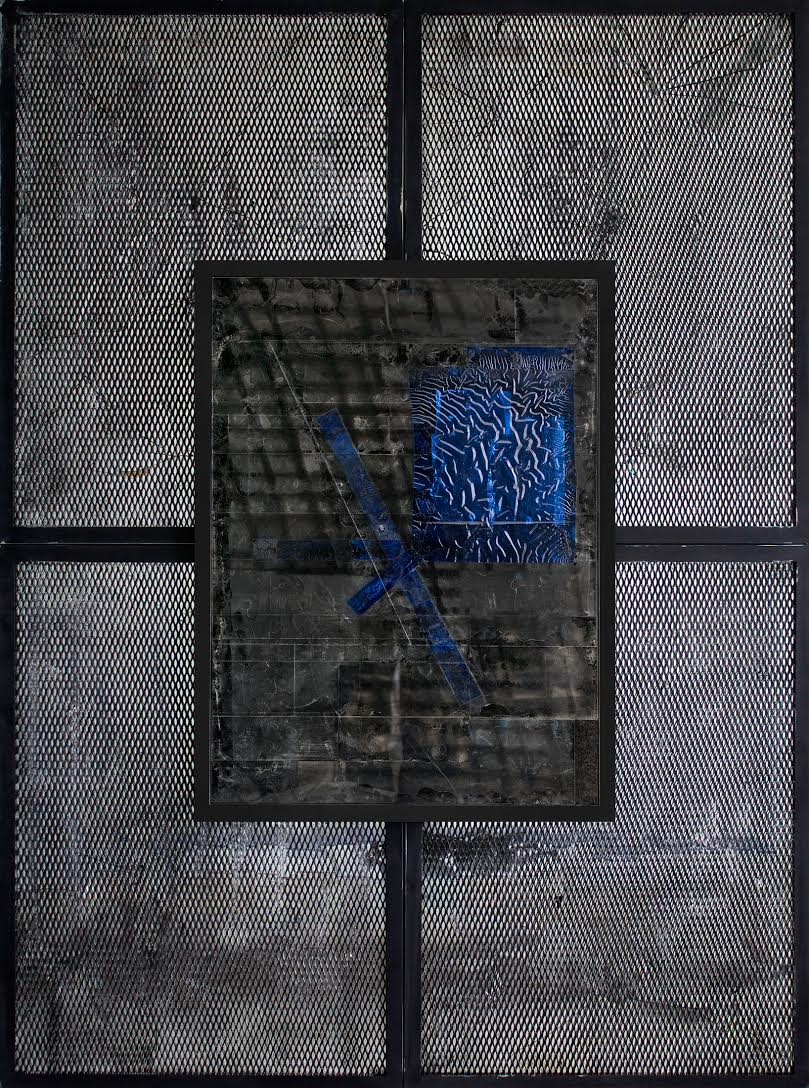 Steel/Mesh 4th Version - 72 x 96 inches in five parts, 2015.