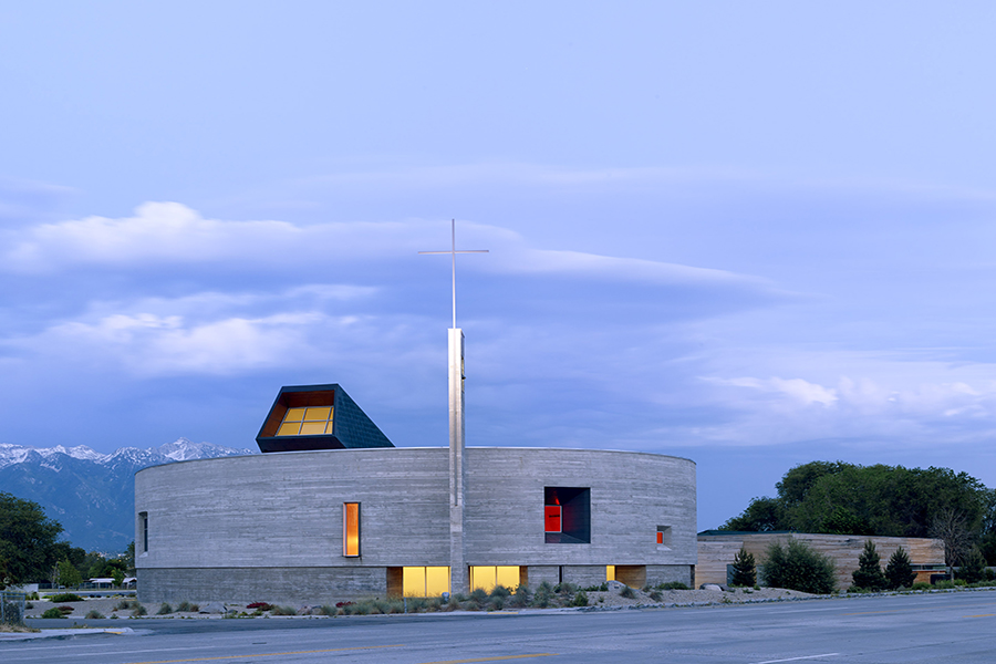 St. Joseph the Worker Church Evening Exterior Shot with illuminated openings