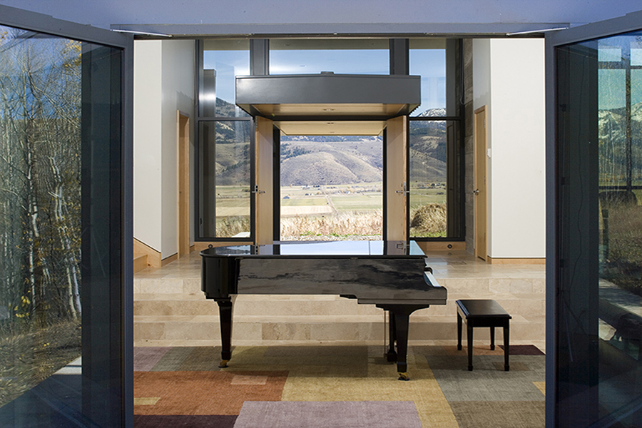 Wyoming Canyon Residence Interior with landscape in background