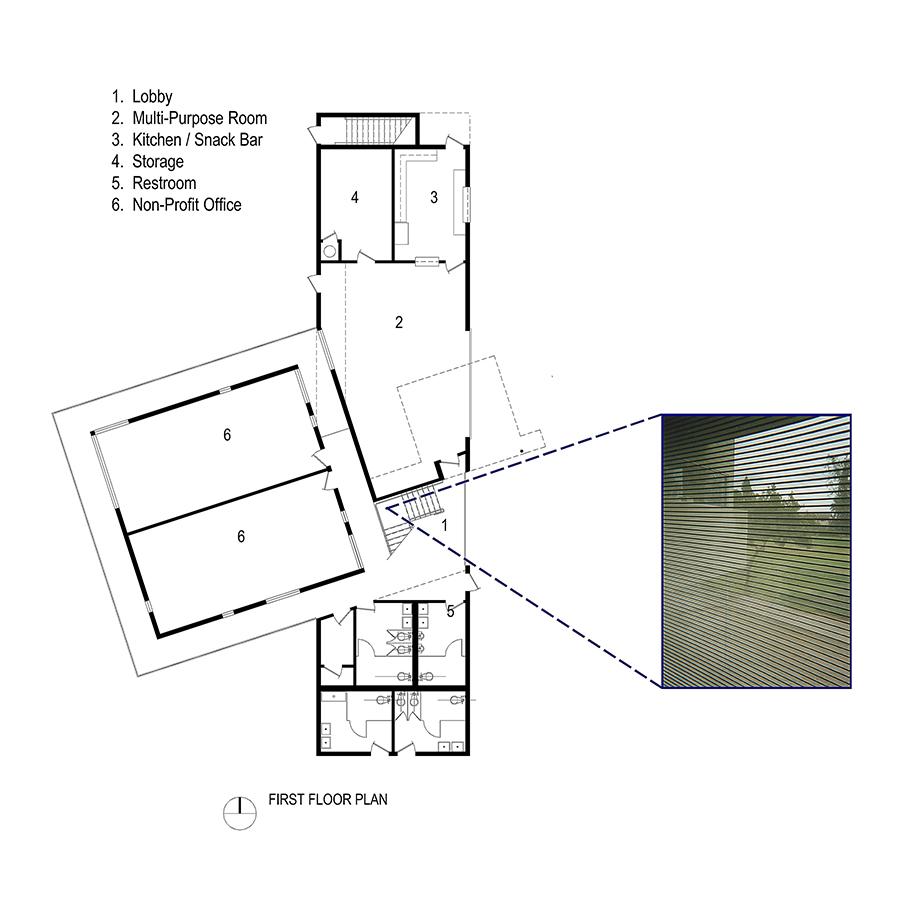 Reggie Rodriguez Community Center Program and Floor Plan