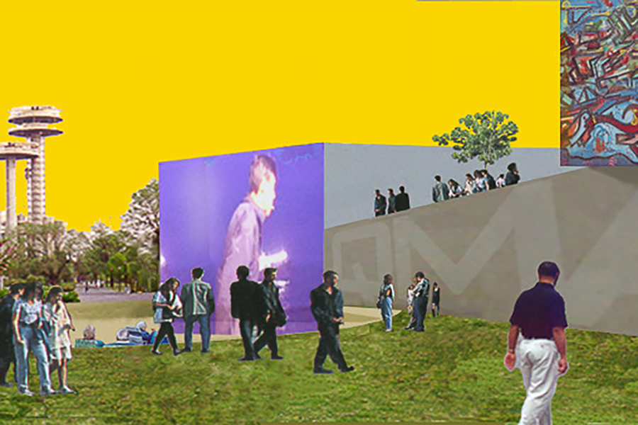 Queens Museum of Art Exterior Plaza Projection Screen Experiential Rendering