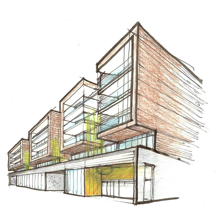 Los Feliz Mixed Use Housing Eye Level Sketch of Exterior Street Facade