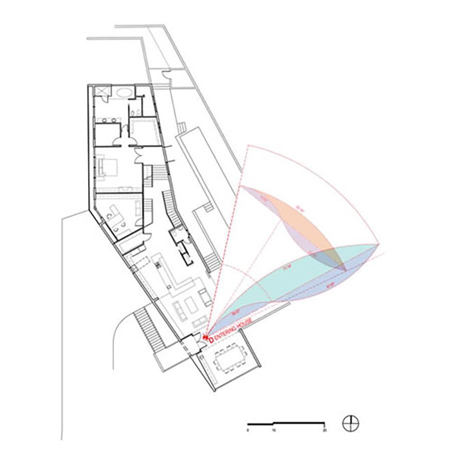 Malibu Canyon Residence Viewpoint Angle Diagram and Floor Plan
