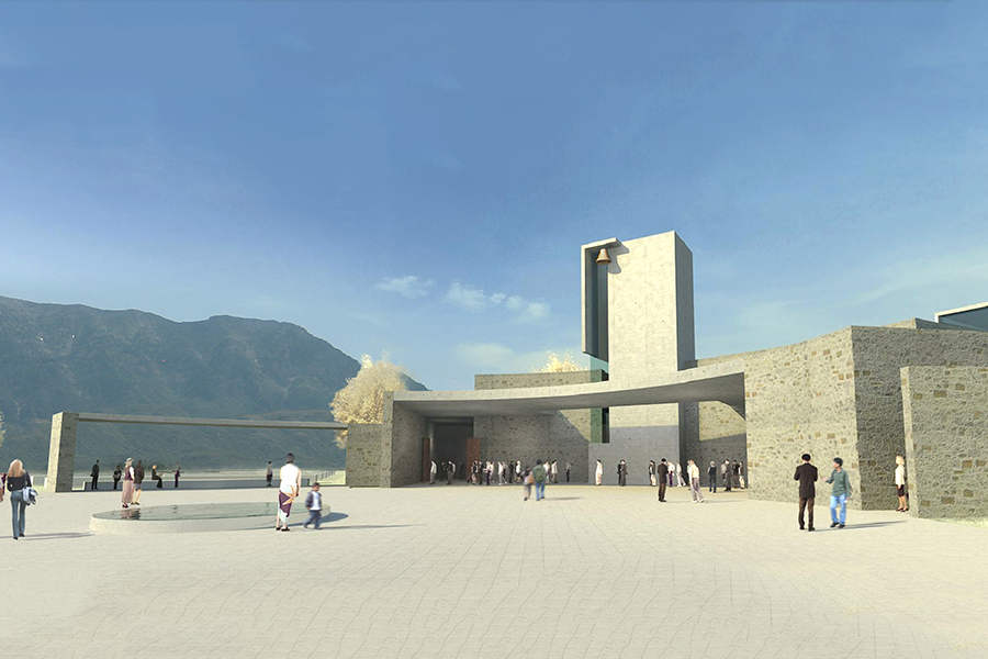St. Francis of Assisi Exterior Plaza and Church Day Rendering