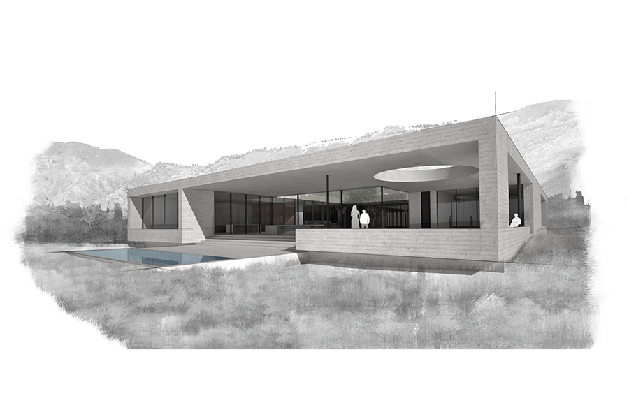 Glashausen Rendering of Rear Patio and Plaza area with pool