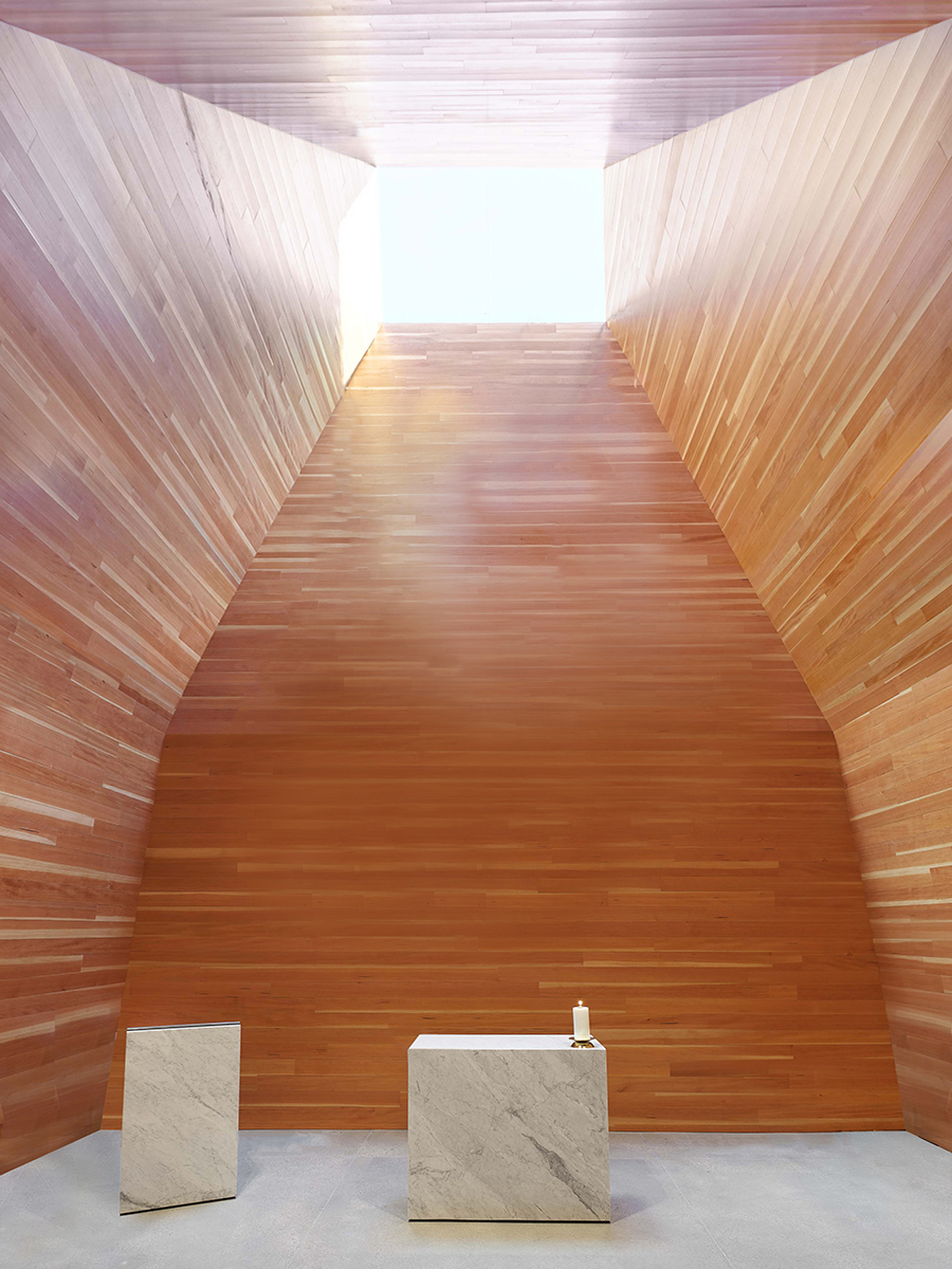 St. Joseph the Worker Day Chapel Inner space with furniture designed by Sparano + Mooney Architecture
