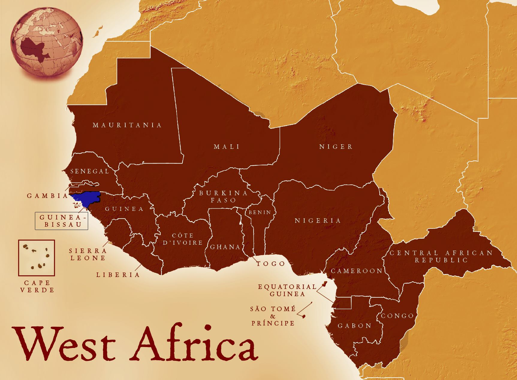 Map of West Africa showing Guinea-Bissau