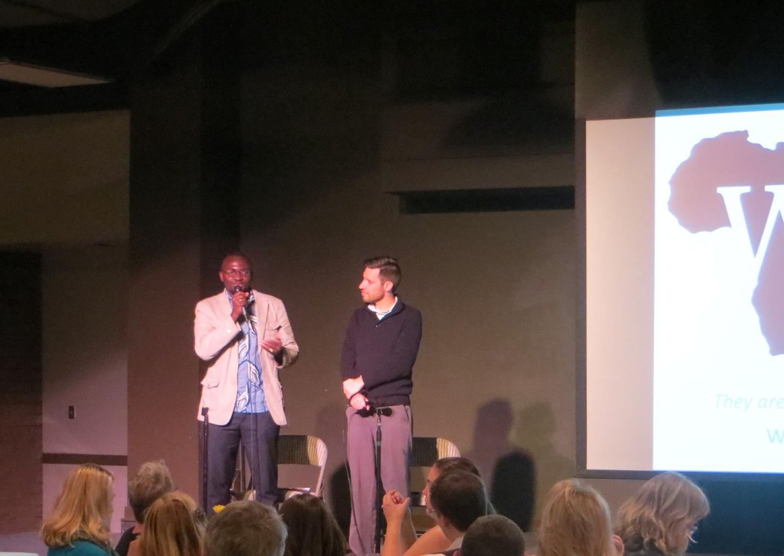 WAVS School Director Almamo Danfa and WAVS Executive Director Chris Collins at a presentation in February 2015
