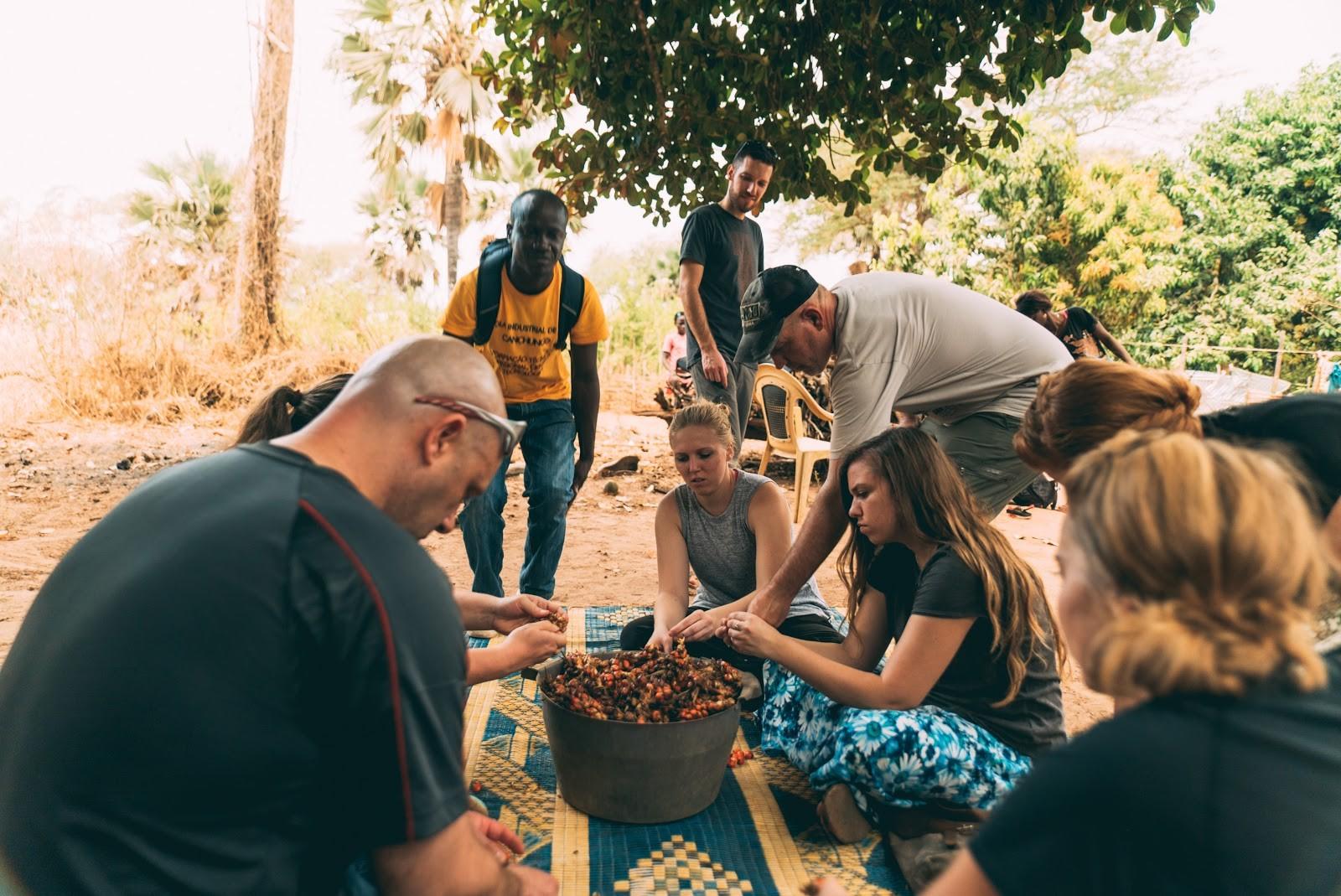 Visitors to Guinea-Bissau West Africa participate in Djumbai