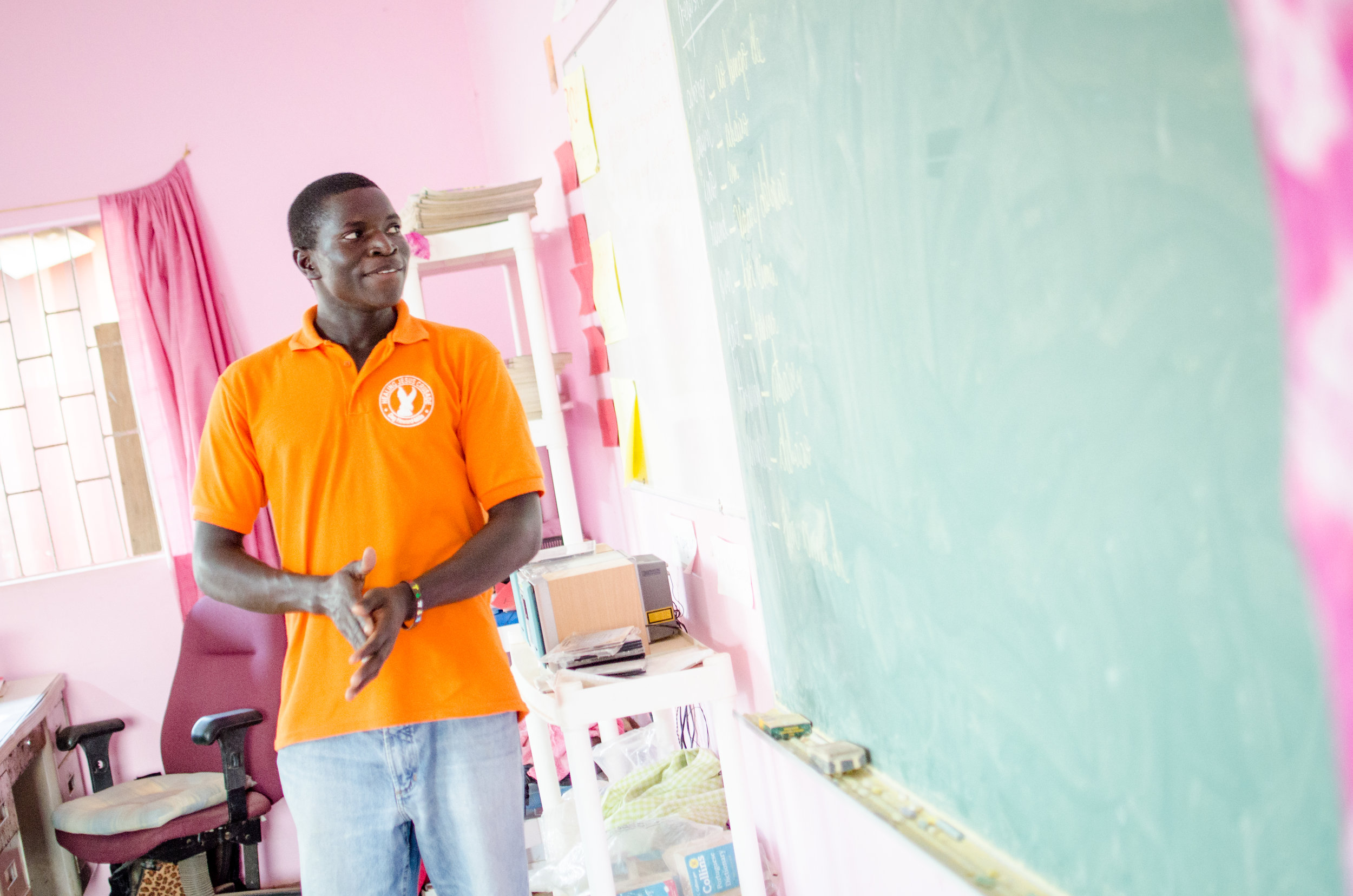 West African Vocational Schools English teacher in classroom